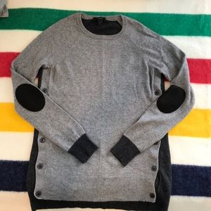 J. Crew side button elbow patch sweater XS gray